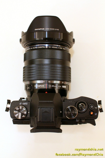 Top view of Olympus E-M5 with the 12-40 f2.8 Pro  lens