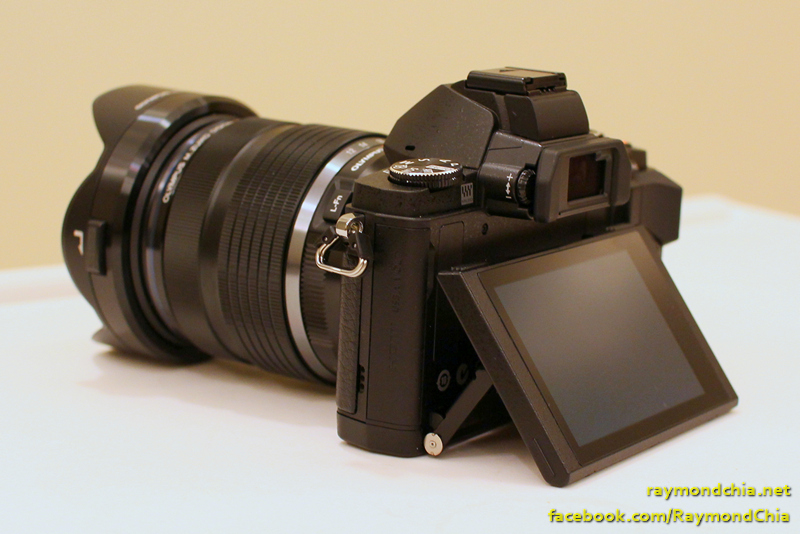 side & corner view of the E-M5 with the flip screen