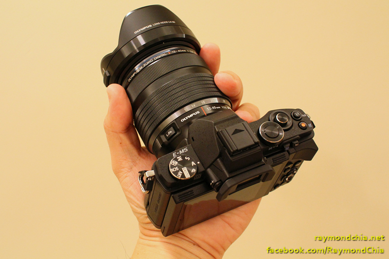 Size of the E-M5 with the 12-40mm f2.8 lens